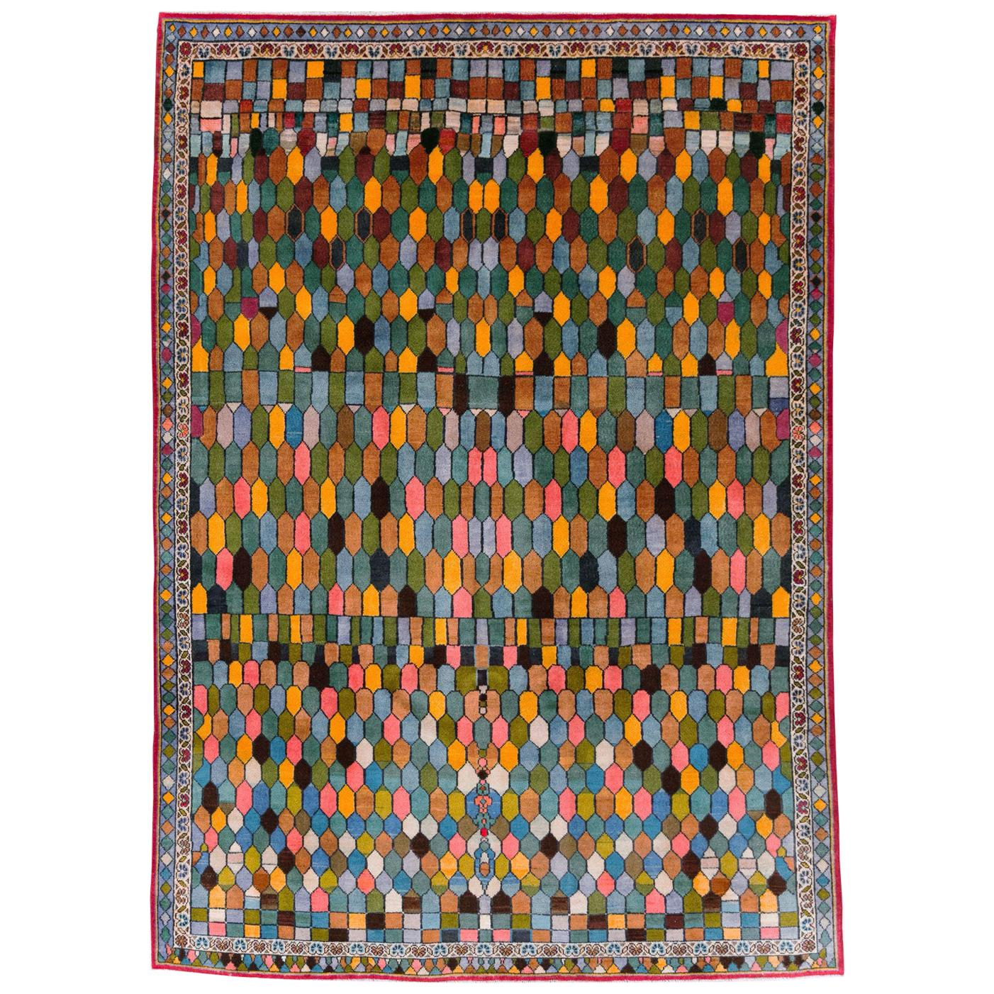 Mid-20th Century Handmade Persian Kashan Accent Rug
