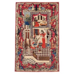 Mid-20th Century Handmade Persian Kashan Pictorial Accent Rug, circa 1940