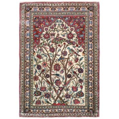 Mid-20th Century Handmade Persian Kashan Pictorial Throw Rug