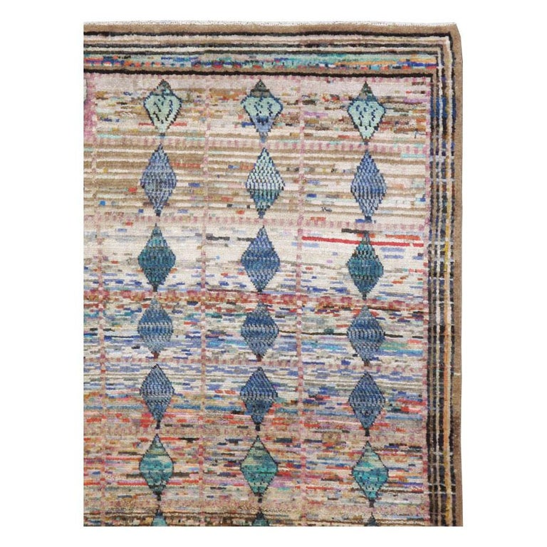 Modern Mid-20th Century Handmade Persian Kashan Small Room Size Accent Rug For Sale