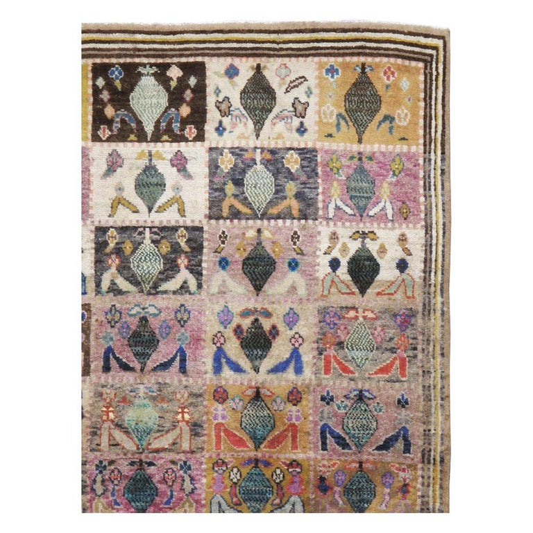 Hand-Knotted Mid-20th Century Handmade Persian Kashan Small Room Size Accent Rug For Sale