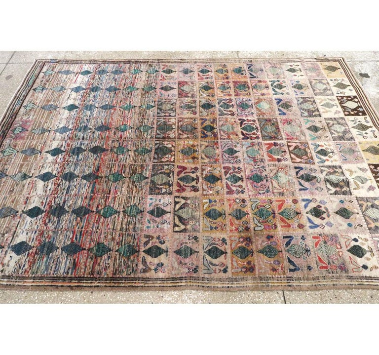 Mid-20th Century Handmade Persian Kashan Small Room Size Accent Rug For Sale 2