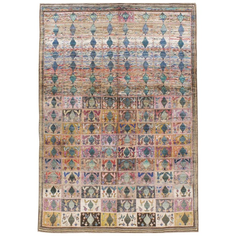 Mid-20th Century Handmade Persian Kashan Small Room Size Accent Rug For Sale