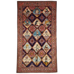 Mid-20th Century Handmade Persian Kerman Pictorial Accent Rug