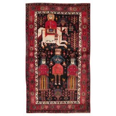 Mid-20th Century Handmade Persian Kurd Tribal Pictorial Accent Rug