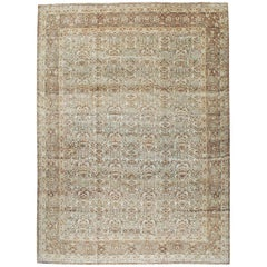 Mid-20th Century Handmade Persian Large Room Size Carpet in Seafoam and Grey