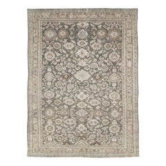 Mid-20th Century Handmade Persian Malayer Accent Rug in Slate Green