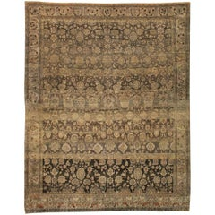 Mid-20th Century Handmade Persian Malayer Large Room Size Carpet in Brown