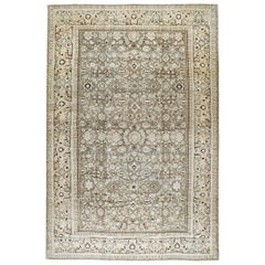 Mid-20th Century Handmade Persian Malayer Large Room Size Carpet in Neutral Tone