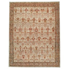 Mid-20th Century Handmade Persian Malayer Room Size Carpet in Grey, Red, & Ivory