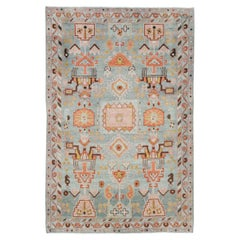 Mid-20th Century Handmade Persian Malayer Throw Rug In Blue-Grey, Coral, & Pink