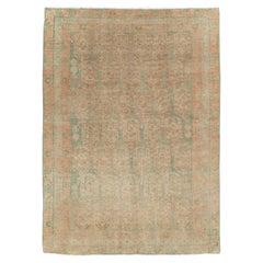 Mid-20th Century Handmade Persian Malayer Throw Rug In Khaki Green & Rust
