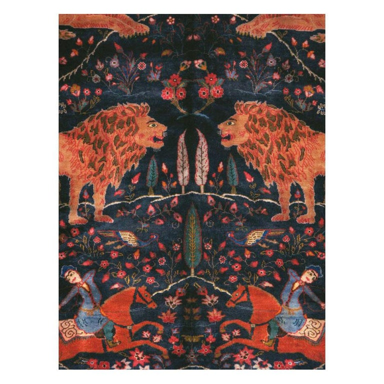 A vintage Persian Mashad pictorial room size carpet handmade during the mid-20th century.  Measures: 8'2
