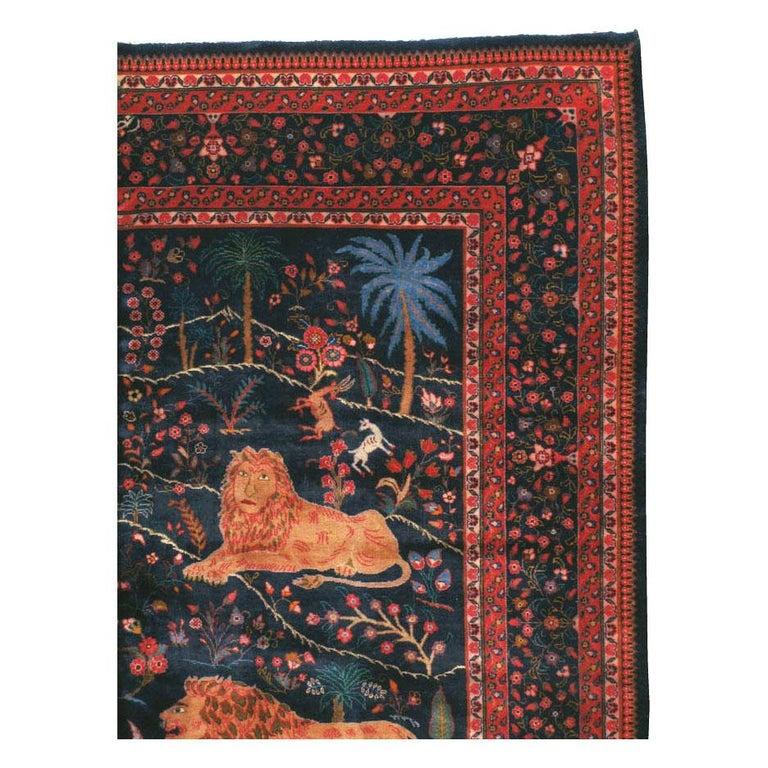 Folk Art Mid-20th Century Handmade Persian Mashad Pictorial Room Size Carpet, circa 1930 For Sale