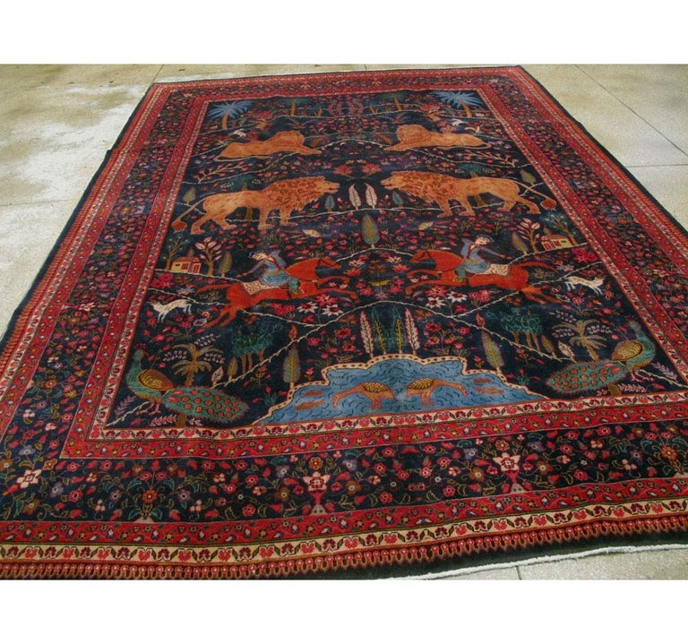 Hand-Knotted Mid-20th Century Handmade Persian Mashad Pictorial Room Size Carpet, circa 1930 For Sale