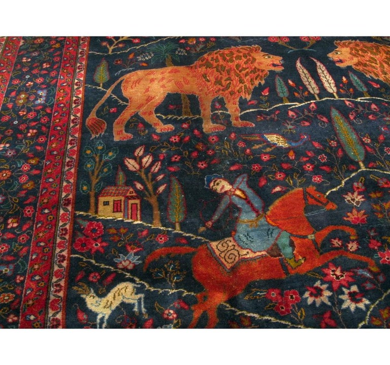 Mid-20th Century Handmade Persian Mashad Pictorial Room Size Carpet, circa 1930 In Excellent Condition For Sale In New York, NY