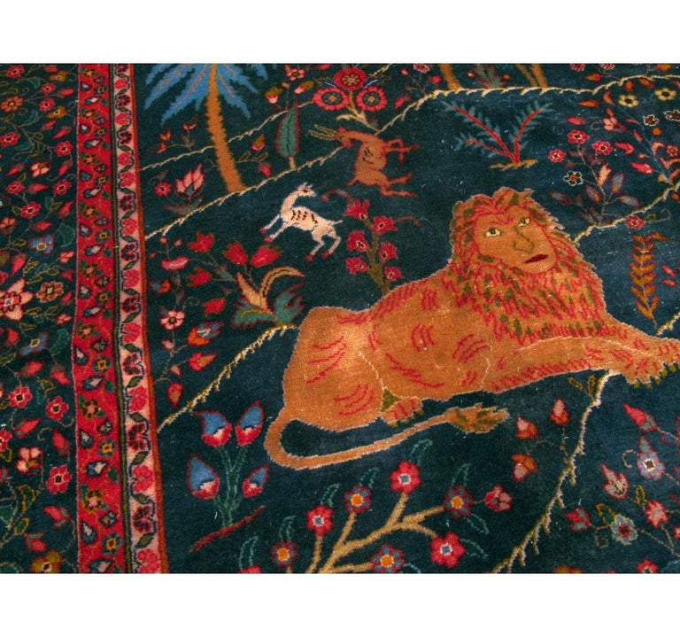 Wool Mid-20th Century Handmade Persian Mashad Pictorial Room Size Carpet, circa 1930 For Sale