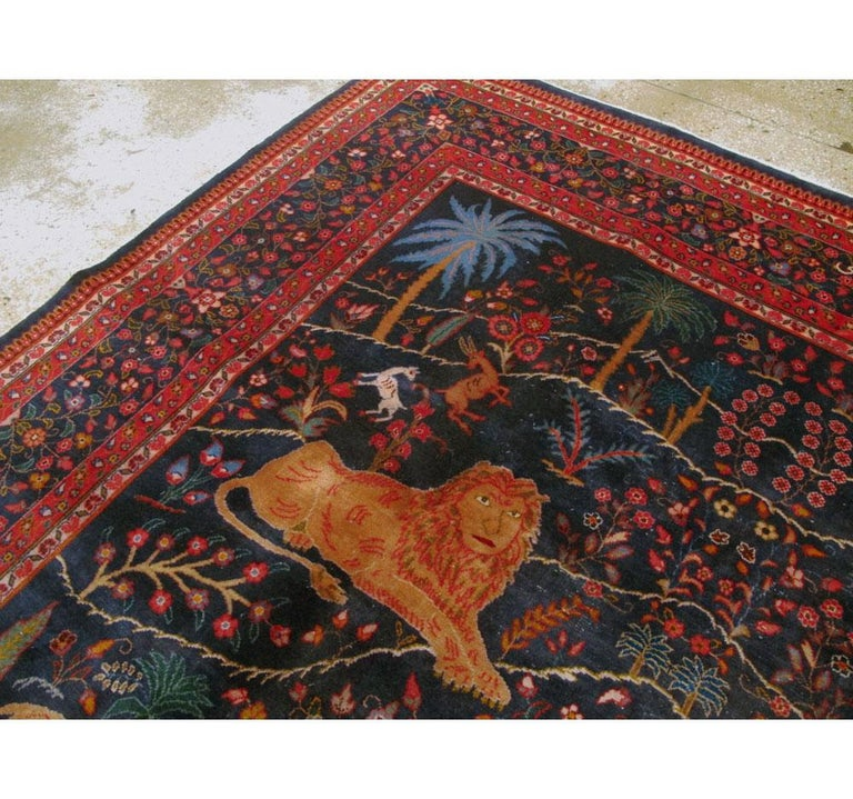 Mid-20th Century Handmade Persian Mashad Pictorial Room Size Carpet, circa 1930 For Sale 1