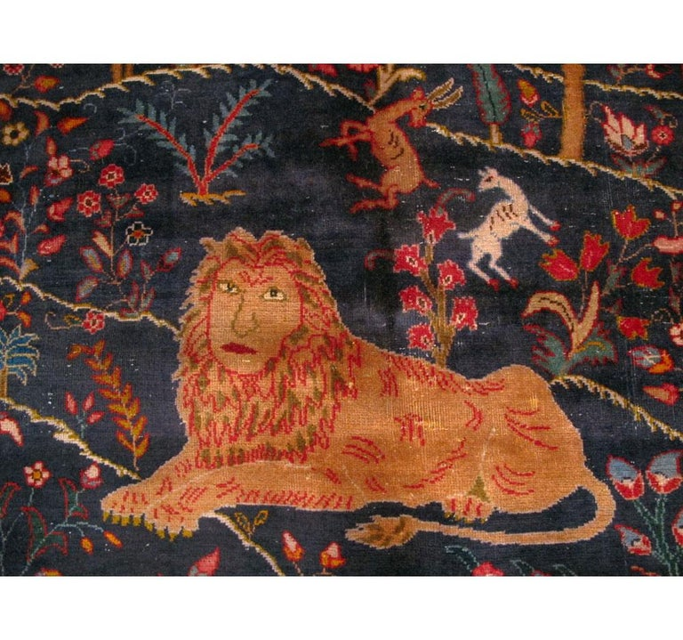 Mid-20th Century Handmade Persian Mashad Pictorial Room Size Carpet, circa 1930 For Sale 2