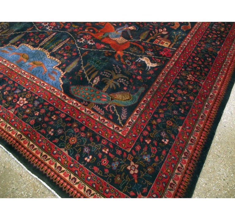 Mid-20th Century Handmade Persian Mashad Pictorial Room Size Carpet, circa 1930 For Sale 3