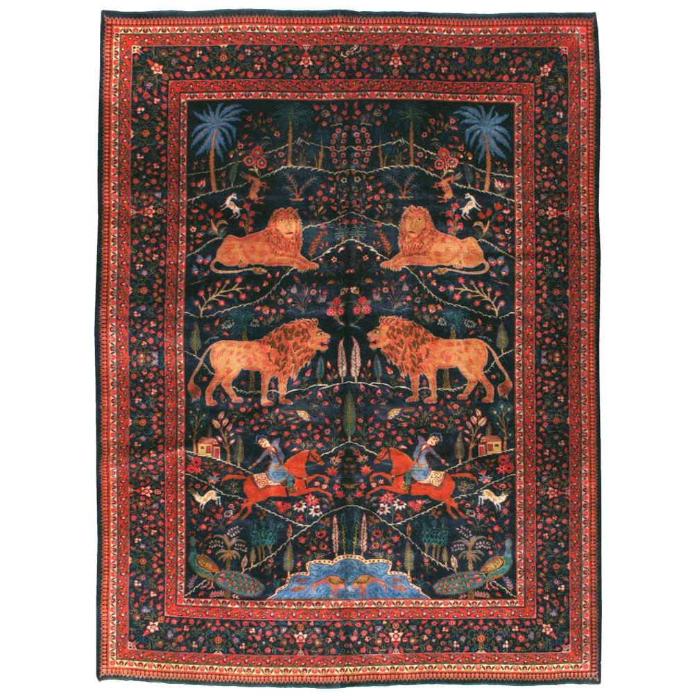 Mid-20th Century Handmade Persian Mashad Pictorial Room Size Carpet, circa 1930