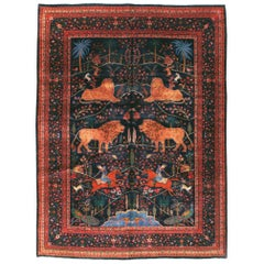 Mid-20th Century Handmade Persian Mashad Pictorial Room Size Carpet, circa 1930