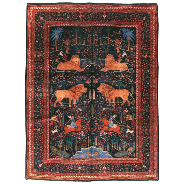 Mid-20th Century Handmade Persian Mashad Pictorial Room Size Carpet, circa 1930 For Sale