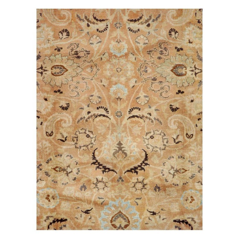 A vintage Persian Mashad room size accent rug handmade during the mid-20th century.  Measures: 6' 10