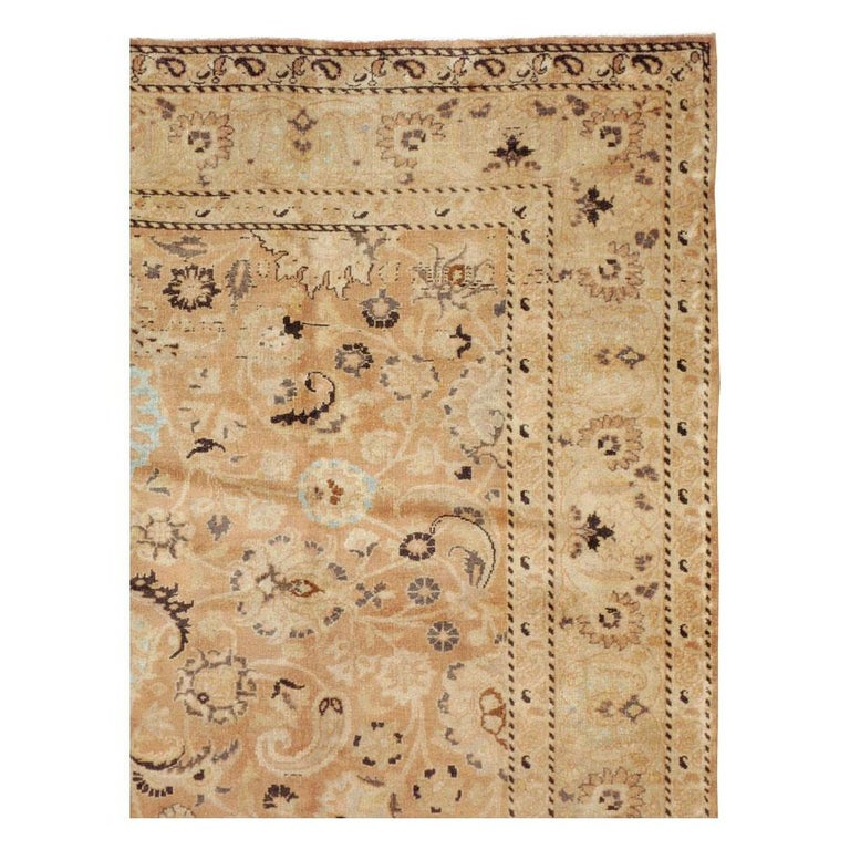 Victorian Mid-20th Century Handmade Persian Mashad Room Size Accent Rug For Sale