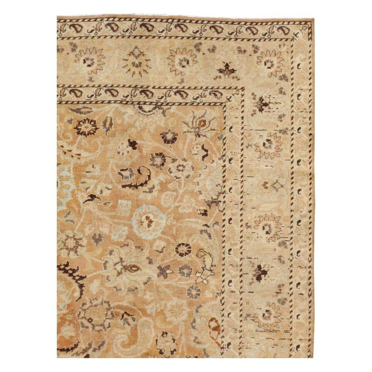 Hand-Knotted Mid-20th Century Handmade Persian Mashad Room Size Accent Rug For Sale