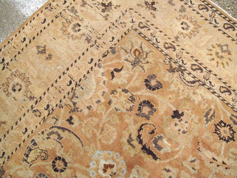 Mid-20th Century Handmade Persian Mashad Room Size Accent Rug For Sale 1