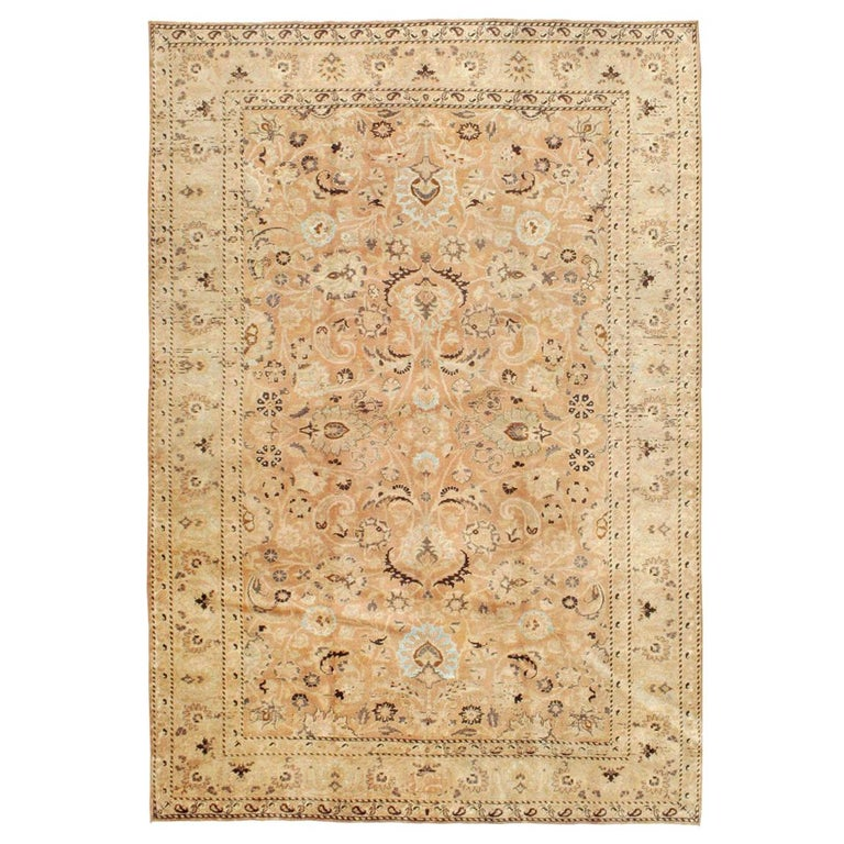 Mid-20th Century Handmade Persian Mashad Room Size Accent Rug For Sale