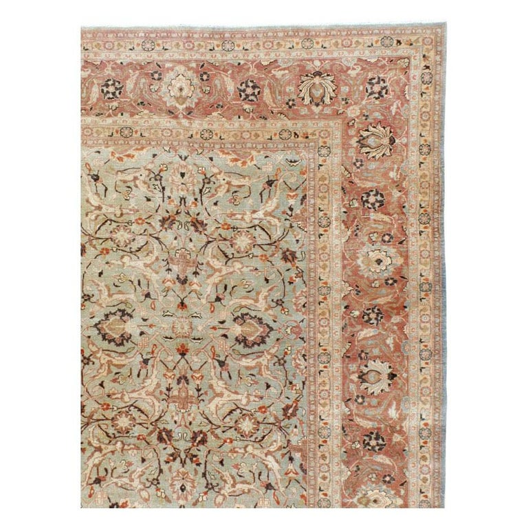 Hand-Knotted Mid-20th Century Handmade Persian Mashad Room Size Carpet, circa 1930 For Sale