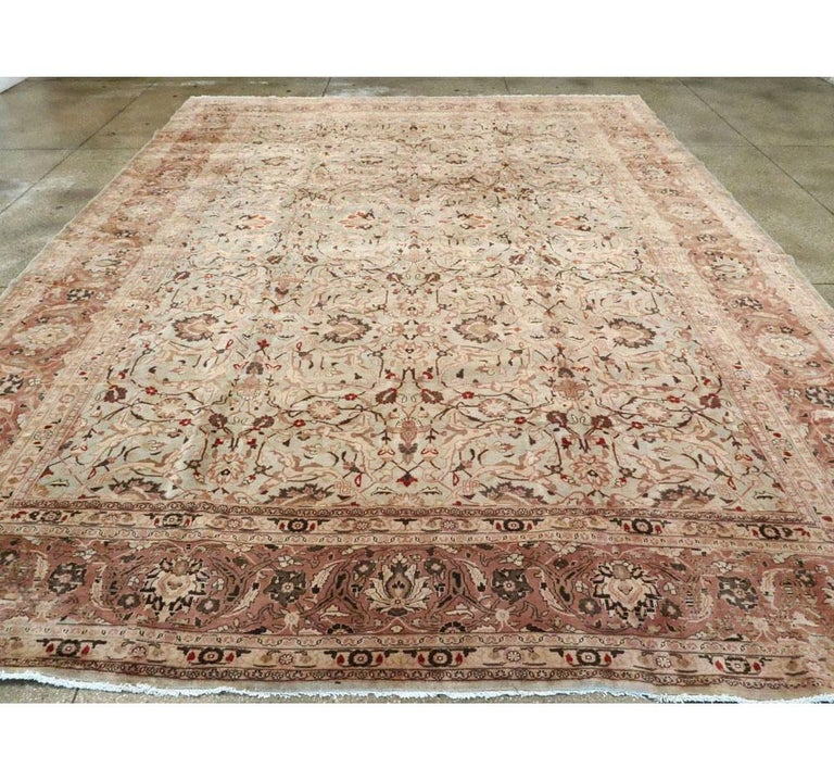 Mid-20th Century Handmade Persian Mashad Room Size Carpet, circa 1930 In Good Condition For Sale In New York, NY