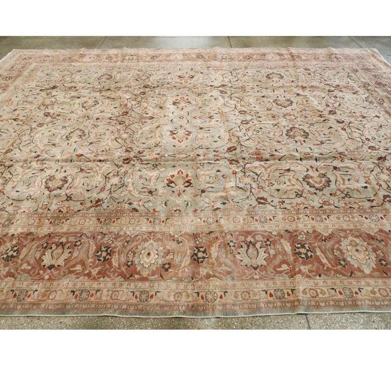 Mid-20th Century Handmade Persian Mashad Room Size Carpet, circa 1930 For Sale 3
