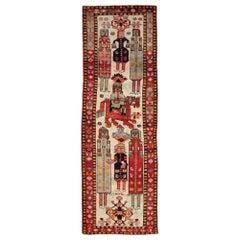 Mid-20th Century Handmade Persian Pictorial Bakhtiari Runner Rug