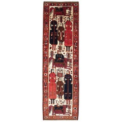 Mid-20th Century Handmade Persian Pictorial Bakhtiari Wide Runner Rug