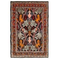Mid-20th Century Handmade Persian Pictorial Bidjar Accent Rug