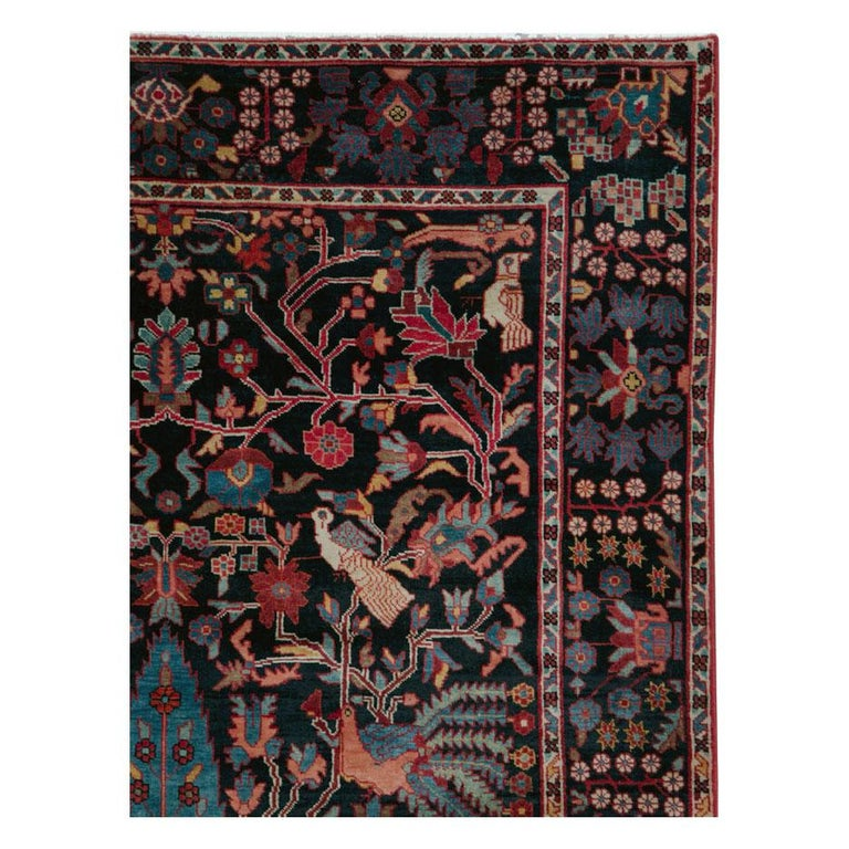 A vintage Persian Pictorial Hamadan small room size accent rug handmade during the mid-20th century.  Measures: 5' 3