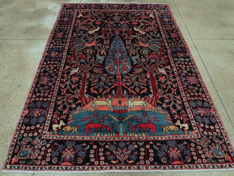 Rustic Mid-20th Century Handmade Persian Pictorial Hamadan Small Room Size Accent Rug For Sale