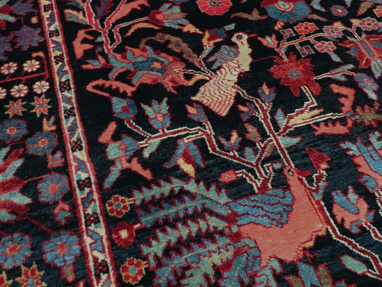 Hand-Knotted Mid-20th Century Handmade Persian Pictorial Hamadan Small Room Size Accent Rug For Sale