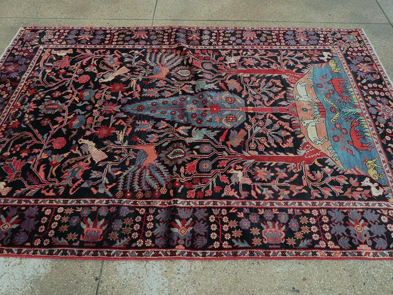 Mid-20th Century Handmade Persian Pictorial Hamadan Small Room Size Accent Rug In Excellent Condition For Sale In New York, NY