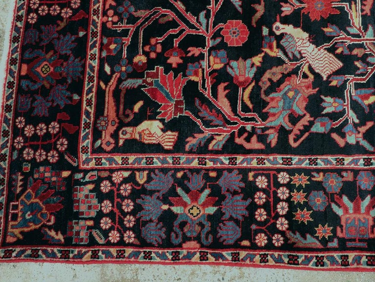 Wool Mid-20th Century Handmade Persian Pictorial Hamadan Small Room Size Accent Rug For Sale