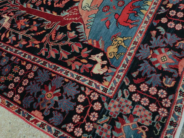 Mid-20th Century Handmade Persian Pictorial Hamadan Small Room Size Accent Rug For Sale 1