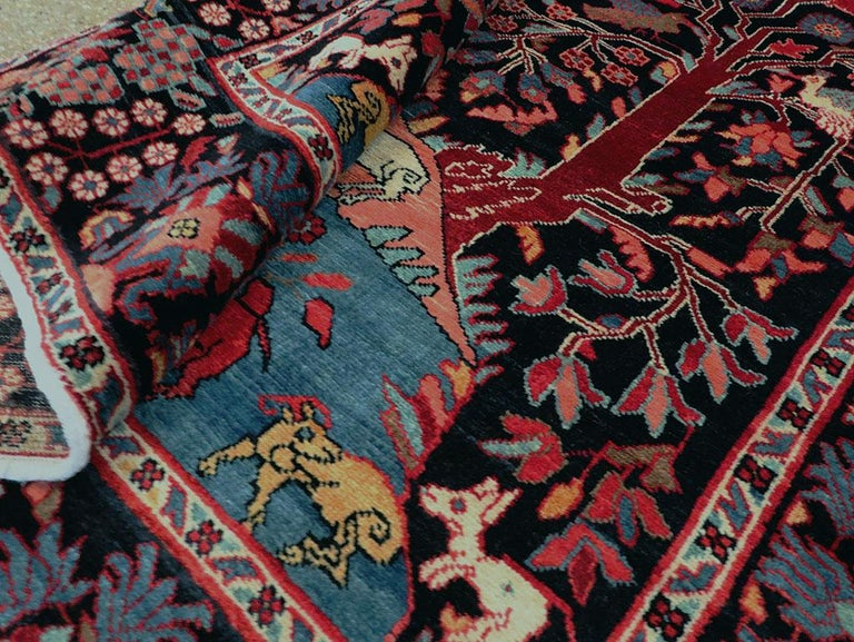 Mid-20th Century Handmade Persian Pictorial Hamadan Small Room Size Accent Rug For Sale 2