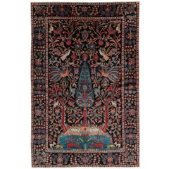 Mid-20th Century Handmade Persian Pictorial Hamadan Small Room Size Accent Rug