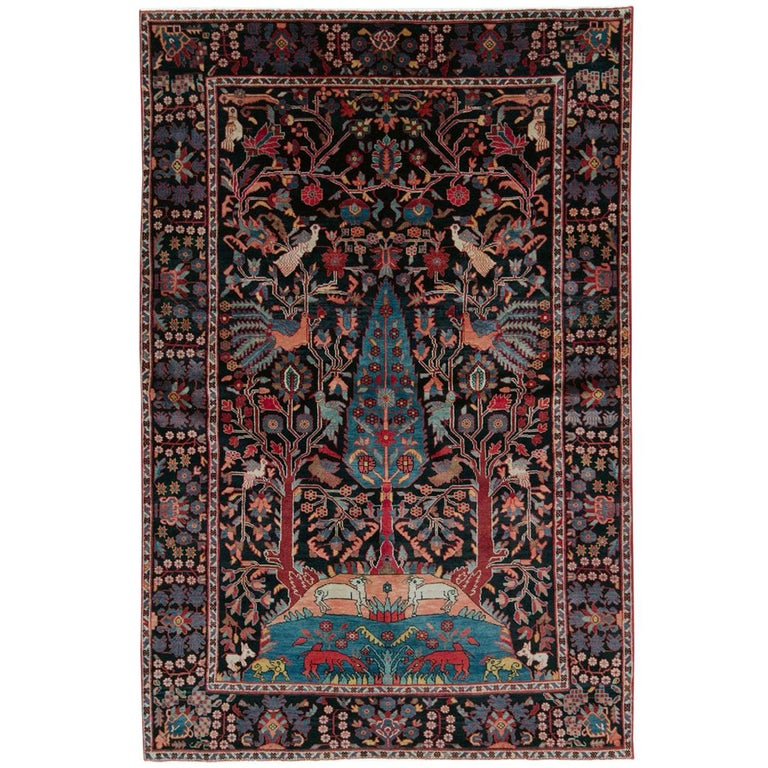 Mid-20th Century Handmade Persian Pictorial Hamadan Small Room Size Accent Rug For Sale
