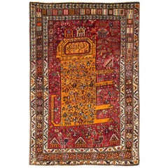 Mid-20th Century Handmade Persian Pictorial Shiraz Tribal Lion Accent Rug