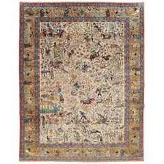 Mid-20th Century Handmade Persian Pictorial Tabriz Hunting Ground Carpet
