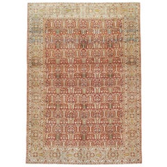 Mid-20th Century Handmade Persian Quom Accent Rug in Rust Red